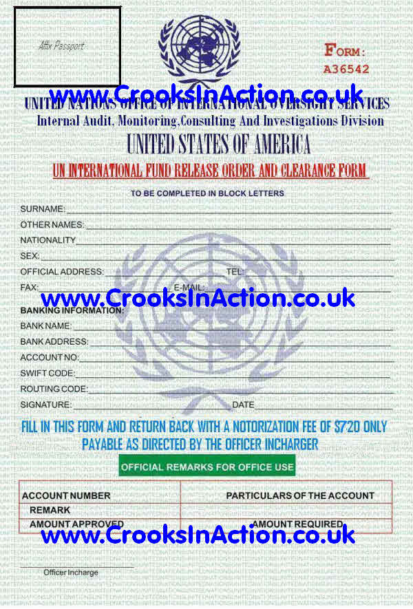 Crooks In Action - Scam From United Nation Office United States